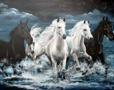 """Vitalidad.Acrilico. """"In my view, the horses symbolize a perfect balance of freedom without restraints, unconditional loyalty, amazing power, tremendous strength and notable wisdom."""" - Deodatta V. Shenai-Khatkhate"""
