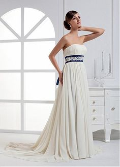 Buy discount Charming Chiffon & Satin Empire Strapless Neckline Empire Waist Wedding Dress with Beaded Lace Appliques at Dressilyme.com