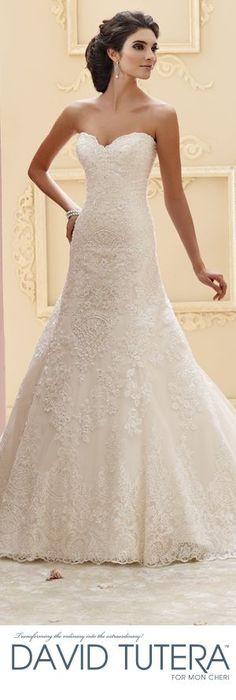 The David Tutera for Mon Cheri Fall 2015 Wedding Gown Collection - Style No. 215265 Katharine davidtuteraformon... #laceweddingdresses @moncheribridals