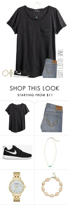 """""""time to get lost"""" by secfashion13 ❤ liked on Polyvore featuring H&M, Hollister Co., NIKE, Kendra Scott, Kate Spade, women's clothing, women, female, woman and misses"""