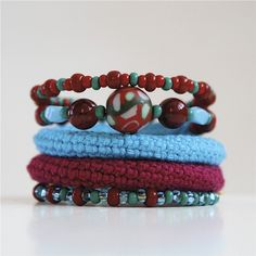 Wrap Crochet Cuff Bracelet in Burgundy Red and Blue by byMarianneS, $30.00