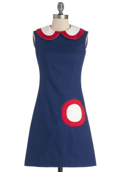 Sure Hits the Spot Dress - Mid-length, Woven, Blue, Red, White, Peter Pan Collar, Party, Vintage Inspired, 60s, Sheath / Shift, Sleeveless, ...