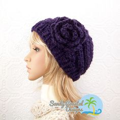 Hand knit hat with flower  deep purple  by SandyCoastalDesigns, $35.00