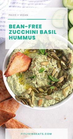 Bean-Free Zucchini Basil Hummus (paleo + vegan) - FitLiving Eats by Carly Paige Basil Hummus, Zucchini Hummus, Paleo Vegan, Vegan Recipes, Paleo Diet, Healthy Dips, Healthy Eating, Classic Hummus Recipe, Food Print
