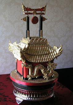 Chinese Pagoda Chocolate Truffle Cake Chinese Cake, Japanese Cake, Chocolate Showpiece, Chocolate Truffle Cake, Beautiful Cakes, Amazing Cakes, Building Cake, Cake Pictures, Cake Pics