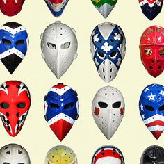 Vintage Collection of the Hockey Masks - from all Eras - Hockey NHL Art - Wall Art - Art Print Contemporary Frames, Holiday Candles, Beautiful Posters, Free Prints, All Print, Hockey, Pigeon, Promotion, Wall Art