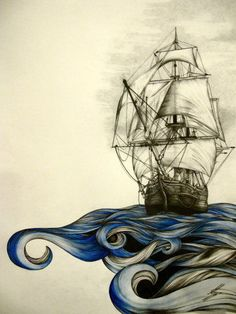 Black and gray boat with colored water. Water design.