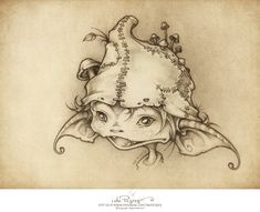 Creature Drawing Kale The Goblin – The Picsees – Medium - This is a wee portrait we drew of our new friend called Kale the goblin who is an expert hide and seek player…you can read the wee story… Fairy Drawings, Fantasy Drawings, Fantasy Kunst, Fantasy Art, Desenho New School, Goblin Art, Arte Fashion, Illustration, Fairy Art