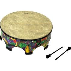 "Remo Kids Gathering Drum, 22"" x 8"" (KD-5822-01) by Remo. Save 44 Off!. $87.35. Amazon.com                In every respect, this 22-inch-diameter drum surrounds you with the sounds of the jungle. The drum stands 7.5 inches tall on eight, wide, rubber-reinforced feet. On the outside shell, a kaleidoscopic menagerie of wild animals are on parade. Roaming through vivid foliage are a pink monkey with yellow ears and nose, a giant yellow and orange frog with green eyes and green and pink spots…"