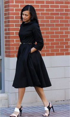 Emma: mid length 1950s style vintage dress with doll collar and front pockets available in S-2XL