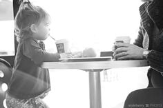 Of course we weren't this little when we went to the coffee shop with Mom and Dad, but this reminded me of those trips.