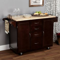 Kitchen cart rolling island storage cabinet drawer shelf wood table portable bar this kitchen cart is more than just an attractive addition to your kitchen or dining room, but it provides a lot of sto Old Cabinets, Wood Kitchen Cabinets, Kitchen Art, Home Decor Kitchen, Rustic Kitchen, Country Kitchen, Portable Kitchen Cabinets, Kitchen Cabinet Storage, Small Apartment Interior