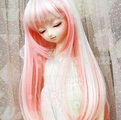 "7-8"" 1/4 BJD Dollfie MSD DZ Doll Long Wig - Pink+white picclick.com"