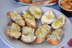 Fresh Homemade Ricotta: Fresh ricotta crostini with lemon zest and extra-virgin olive oil