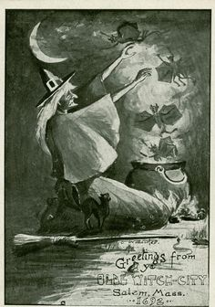 Vintage witch postcard, Salem Massachusetts