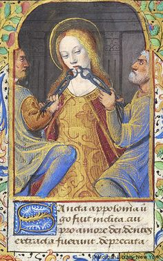 Saint Apollonia of Alexandria // Book of Hours France, Avignon, approximately // Medieval & Renaissance Manuscripts / © The Morgan Library & Museum // Medieval Life, Medieval Art, Medieval Manuscript, Illuminated Manuscript, Saint Apollonia, Renaissance, Pakistan Art, Maleficarum, Medieval Paintings