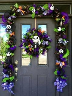Nightmare Before Christmas Jack Skellington Entryway...these are the BEST Homemade Halloween Decorations & Craft Ideas!