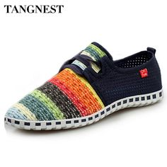 749fc61de14 US $14.29 45% OFF|Tangnest Summer Breathable Mesh Shoes Men Beach Couple  Shoes Rainbow Color Comfort Slip On Flats For Man Size 35 44 XMF263-in  Men's Casual ...