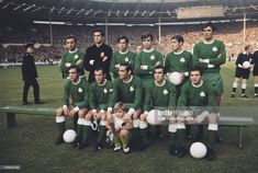 View of the Greek football team Panathinaikos posed together on the pitch prior to competing against Dutch team Ajax in the 1971 European Cup Final match at Wembley Stadium in London on 2nd June 1971. Ajax would go on beat Panathinaikos and win the game 2-0 to become champions and be awarded the European Cup. The team are, Takis Ikonomopoulos (back row 2nd from left), Yianis Tomaras, Giorgos Vlahos, Kostas Eleftherakis, Aristidis Kamaras, Frangiskos Sourpis, Haris Grammos, Totis Filakouris…