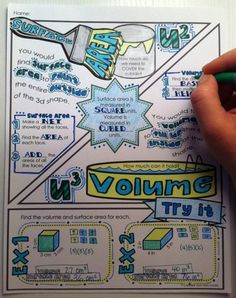 Surface Area and Volume - Doodle Notes for right and left brain communication: The coloring and doodling help to activate learning, focus, memory, and visual connections! Math Teacher, Math Classroom, Math Resources, Math Activities, Teaching Geometry, Sixth Grade Math, Math Notebooks, Interactive Notebooks, Math Notes