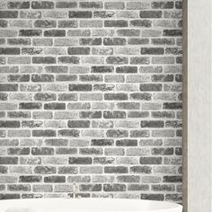 Millwood Pines Dulce Faux Brick L x W Peel and Stick Wallpaper Roll Colour: Grey Painted Brick Walls, Faux Brick Walls, Brick Fireplace, Faux Brick Wall Panels, Fireplace Remodel, Fireplace Ideas, Wallpaper Roll, Peel And Stick Wallpaper, Wall Wallpaper