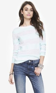 Texture and color - STRIPED PUNCH MESH SWEATER from EXPRESS