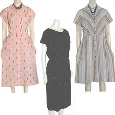 50s Vintage Dress Lot Cotton Gingham Stripes Sequins Embroidery 40 Bust #eBay #vintage #50s
