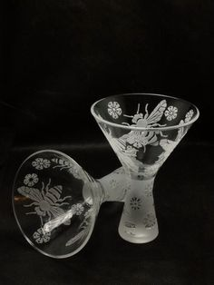 Etched Martini Glasses made for Asher Gallery's Martini Madness Fund Raiser by Andre & Virginia Bally