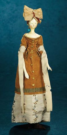 Grodnertal Wooden Doll, circa 1840~Image © Theriault's. https://www.theriaults.com/node/802953