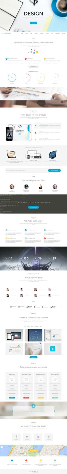 Bubbles Parallax One Page Wordpress Theme by mona lisa, via Behance