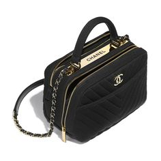 Bowling Bag - Black - Jersey & Gold-Tone Metal - Other view - see standard sized version Chanel Handbags, Fashion Handbags, Purses And Handbags, Fashion Bags, Chanel Fashion, Chanel Bags, Luxury Purses, Luxury Bags, Cute Mini Backpacks