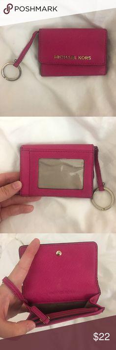 Michael Kors Keychain Wallet gently used pink/magenta michael kors keychain wallet. holds coins, cards, ID, etc Michael Kors Accessories Key & Card Holders