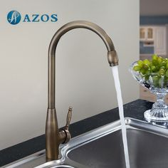 76.93$  Watch now - http://alins3.worldwells.pw/go.php?t=32703057742 - AZOS Kitchen Sink Tap Brass Single Hole Deck Mount Antique Brass Hot Cold Water Mixer Washing Furnitures CFLR019