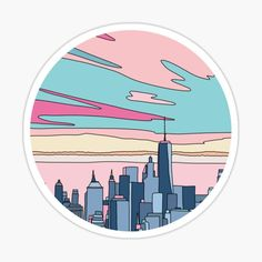 'City sunset by Elebea' Sticker by Sabrina Brugmann Apple Stickers, Homemade Stickers, Diy Stickers, Aesthetic Shirts, Aesthetic Stickers, Cheetah Print Wallpaper, Free Watercolor Flowers, Sticker Design, Vinyl Decals