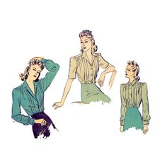 1940s WWII Button Front Blouse - Pin-tucking, Collar, Long or Short-sleeves - Vintage Sewing Pattern - Advance 2748