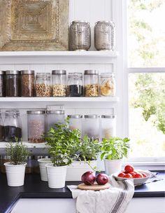 Świeże zioła w doniczkach na kuchennym blacie.