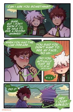 """my piece for the ! A four page comic giving closure to the Liar Disease! Thank you so much for having me in the zine! Danganronpa Funny, Super Danganronpa, Danganronpa Characters, All Meme, Nagito Komaeda, Nanami, Hinata, Fujoshi, Manga"