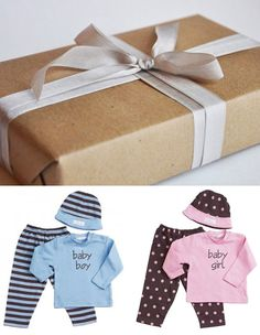Wrapped Gift Gender Reveal Idea, keeping the same tradition as how you revealed you were having a baby Stacy