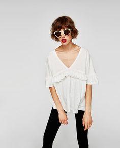 Image 4 of TASSELLED T-SHIRT from Zara