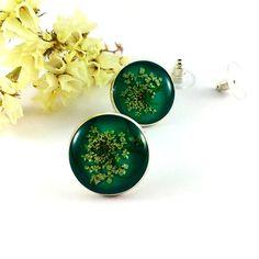 Jade #green earrings Green #stud #earrings Button earrings by Galiga