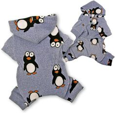 Happy Penguin Hooded Fleece Dog PajamasCute and soft fleece hooded pajamas, with Happy Penguins all over will keep your little one warm and cozy! With stretchable waist line for a better fit, snap button closure. Pj's help to keep the fur off the sheets.A small D-Ring attached above the first snap button to add on a