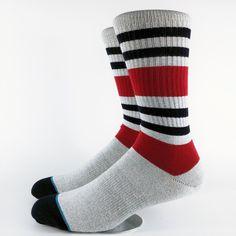 Men's Track Field Gray Skate Crew Socks USA Size M(6-8.5),L( 9-12) ,Euro Size 39-41.5,42-45