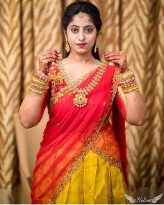 Getting ready for her big day ❤️ . Photo by Half Saree Lehenga, Saree Dress, Red Saree, Half Saree Designs, Sari Blouse Designs, Saree Jewellery, Bridal Jewellery, Wedding Jewelry, Gold Jewellery Design
