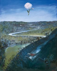 """Shoalhaven River with Rose, Burning Book and Aeroplane"" (1981) by Arthur Boyd"