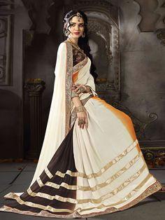 Cream Georgette Designer Party Wear Saree  for price whatsApp +91-9913433322
