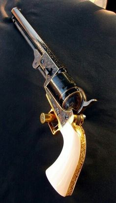 Colt Model 1851 Navy Caliber Percussion Revolver // A thing of beauty. Weapons Guns, Guns And Ammo, Rifles, Armas Wallpaper, Black Powder Guns, Gun Art, Custom Guns, Weapon Concept Art, Cool Guns