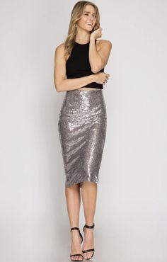 abd3108228 Deck The Halls Midi Skirt - $40 Sequin Pencil Skirt, Pencil Skirts, Silver  Sequin