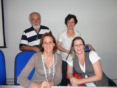 Para compor a mesa de um dos encontros na ECA USP: a designer Sylvie Quartara, a jornalista Janaína Freitas (Couromoda), o Prof. José Coelho Sobrinho (idealizador do 1º Curso de Jornalismo de Moda na ECA) e eu, que tive a sorte de participar de tudo isso! representando a Artemoda.