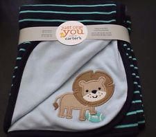New Carter's Just One You 2 Ply Reversible Receiving Blanket Rugby Stripe Lion