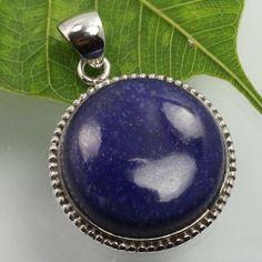 925 Solid Sterling Silver New Design Pendant Natural LAPIS LAZULI Round Gemstone #SunriseJewellers #Pendant